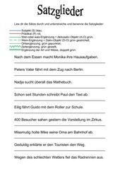 Satzglieder, Arbeitsblatt und Bastelvorlage für einen Fächer
