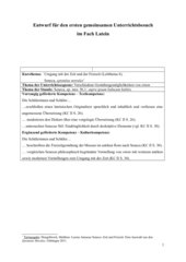 Stundenentwurf: Verschiedene Gestaltungsmöglichkeiten von otium
