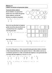 Merkblatt Addition und Subtraktion gemischte Zahlen
