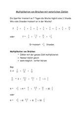 Multiplikation von Brüchen mit natürlichen Zahlen MS 6. Kl. Bayern