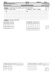 Arbeit Grundrechenarten - Form A+B