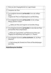 Checkliste Warenkontrolle (Unverzügliche Prüfung, Feinkontrolle)