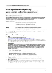 Useful phrases for expressing your opinion and writing a comment