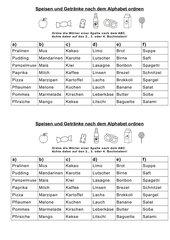 Wörter nach dem ABC ordnen (Speisen und Getränke) Teil 2