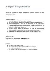 Kriterien für eine Buchvorstellung
