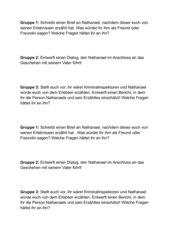 Gruppenarbeit zu E.T.A. Hoffmanns Sandmann