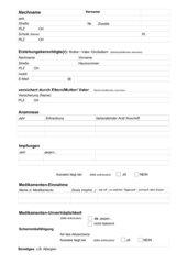 Stammdatenblatt (alle Schulformen und -klassen) für Klassenreisen/ Ausflüge