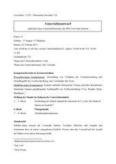 Unterrichtsentwurf zum Thema Lyrik/ Versmaß