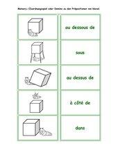 Zuordnungsspiel / Domino zu den 'prépositions'