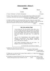 Klassenarbeit zum Thema Fabeln