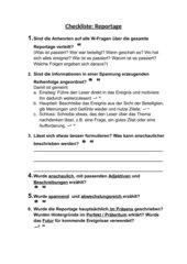 Checkliste Reportage
