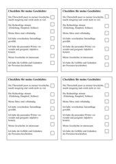 Checkliste für meine Geschichte