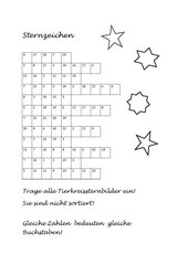 Zahlenrätsel zu den Tierkreis-Sternzeichen
