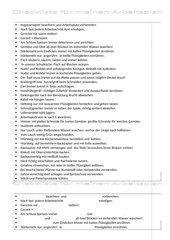 Checkliste für den Arbeitsplan