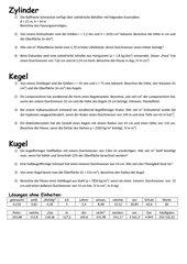 Textaufgaben zu Oberfläche und Volumen