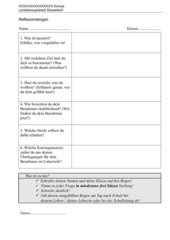 Reflexionsbogen für Unterrichtsstörer
