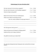 Kriterienbogen Förmlicher Brief/Argumentieren