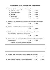Kriterienbogen Einleitung Szenenanalyse