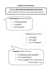 Folie/ Handout für Peer-feedback bei Präsentation