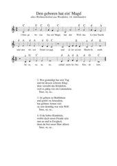 Den geboren hat ein' Magd - altes westfälisches Weihnachtslied