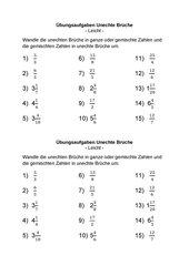 Umwandlung Unechte Brüche in Gemischte Zahlen und umgekehrt