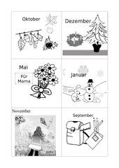 Die zwölf Monate: Gedicht / Rätsel / Domino