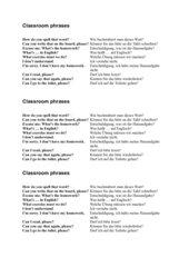Classroom Phrases