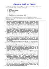 Olympische Spiele bis 2014 - Textverständnis