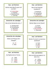 Quiz Klasse 5 Haus-/Nutztiere / Tiere im Winter
