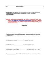 Klassenarbeit Leseverstehen Aktiv Passiv Adverbialsätze