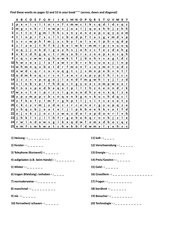 Wortsuchrätsel und Kreuzwort zu S. 52 und 52 Unit 4