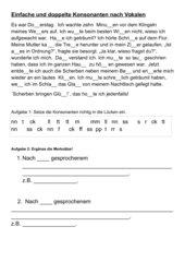 Einfache und doppelte Konsonanten nach Vokalen