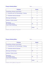 Balkenübung Klasse 3 mit Bewertungsraster