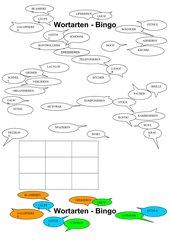 Wortarten-Bingo mit Schwerpunkt Verben Endung -ieren-