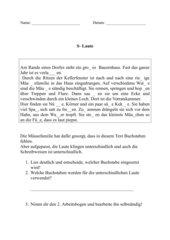 Rechtschreibung - s - Laute