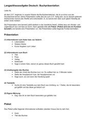 Kriterien für eine Buchpräsentation mit Plakat