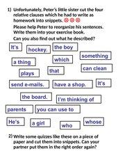 Relative clauses: Scrambled sentences