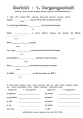 Bericht - Verben im Präteritum (mit Lösungen)