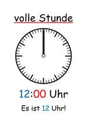 Uhr - Lernplakate (volle, viertel, halbe, dreiviertel Stunde)