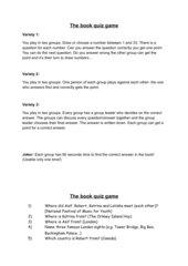 English- Quiz (English G21 B3) Book Quiz Year 7