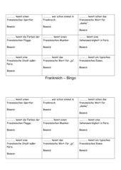 Frankreich-Bingo