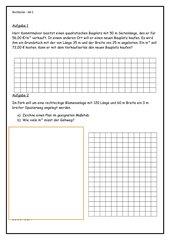 Rechteck - Flächeninhalt (Textaufgaben)