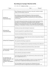 Beurteilungsbogen für die