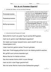 Klassenarbeit Pronomen (Personal-, Possessiv-, Reflexiv-)