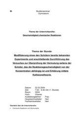 Abhängigkeit der Reaktionsgeschwindigkeit von der Konzentration - experimentelle Überprüfung