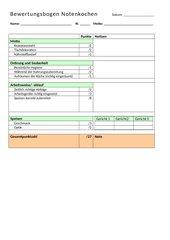 Bewertungsbogen Nahrungszubereitung