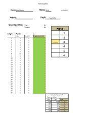 Formular zur Notenberechnung