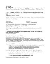 Kompetenzen als Folge der PISA Ergebnisse – Kritik an PISA