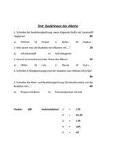 Test: Reaktionen der Alkane