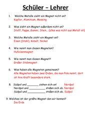 Schüler - Lehrer Fragen zum Thema Magnetismus